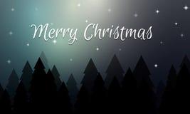 Tarjeta de Navidad con el bosque de la noche del invierno y el cielo estrellado Fotografía de archivo libre de regalías