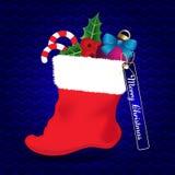 Tarjeta de Navidad con el calcetín stock de ilustración