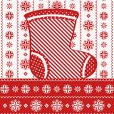 Tarjeta de Navidad con el calcetín, estilo nórdico Imagen de archivo libre de regalías
