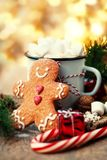 Tarjeta de Navidad con el chocolate caliente con la melcocha, pan de jengibre Foto de archivo libre de regalías