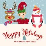 Tarjeta de Navidad con el duende, el muñeco de nieve y el reno ilustración del vector