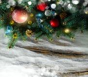 Tarjeta de Navidad con el espacio para su texto Foto de archivo libre de regalías