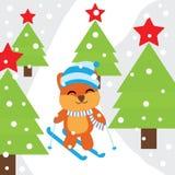 Tarjeta de Navidad con el esquí lindo del juego del Fox en historieta de la montaña de la nieve, la postal de Navidad, el papel p Foto de archivo