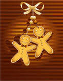 Tarjeta de Navidad con el hombre de pan de jengibre stock de ilustración