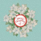 Tarjeta de Navidad con el modelo de flores de la estrella el poner letras y de la Navidad blanca en fondo azul de la nieve ilustración del vector