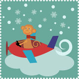 Tarjeta de Navidad con el mono Santa Claus libre illustration