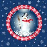 Tarjeta de Navidad con el muñeco de nieve Fotografía de archivo