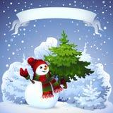 Tarjeta de Navidad con el muñeco de nieve Foto de archivo libre de regalías