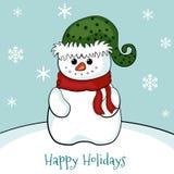 Tarjeta de Navidad con el muñeco de nieve Imagen de archivo libre de regalías