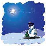 Tarjeta de Navidad con el muñeco de nieve y el árbol Foto de archivo libre de regalías