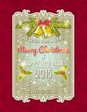 Tarjeta de Navidad con el ornamento decorativo Foto de archivo libre de regalías