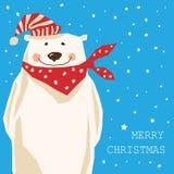 Tarjeta de Navidad con el oso polar Fotos de archivo