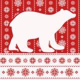Tarjeta de Navidad con el oso polar, estilo nórdico Foto de archivo