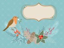 Tarjeta de Navidad con el pájaro del petirrojo Fotografía de archivo