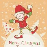 Tarjeta de Navidad con el pequeño ayudante de Santa del duende Fotografía de archivo
