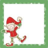 Tarjeta de Navidad con el pequeño ayudante de Santa del duende Foto de archivo
