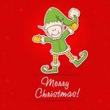Tarjeta de Navidad con el pequeño ayudante de Santa del duende Imagen de archivo