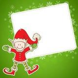 Tarjeta de Navidad con el pequeño ayudante de Santa del duende Imágenes de archivo libres de regalías