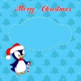 Tarjeta de Navidad con el pequeño pingüino Imagen de archivo