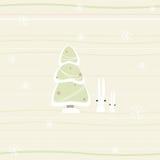 Tarjeta de Navidad con el pino y los conejos Fotos de archivo libres de regalías