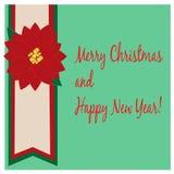 Tarjeta de Navidad con el Poinsettia Foto de archivo