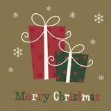 Tarjeta de Navidad con el presente Imagenes de archivo