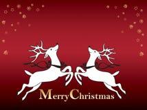 Tarjeta de Navidad con el reno Imágenes de archivo libres de regalías
