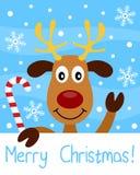 Tarjeta de Navidad con el reno Fotografía de archivo libre de regalías