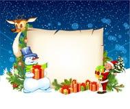 Tarjeta de Navidad con el reno del muñeco de nieve y un duende Fotografía de archivo libre de regalías