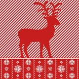 Tarjeta de Navidad con el reno, estilo nórdico Foto de archivo
