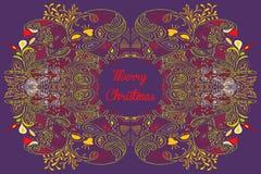 Tarjeta de Navidad con el texto de la Feliz Navidad con Imagenes de archivo