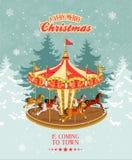 Tarjeta de Navidad con el tiovivo, el árbol de navidad y los copos de nieve del vintage Imagenes de archivo
