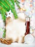 Tarjeta de Navidad con el vino reflexionado sobre Fotos de archivo
