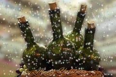 Tarjeta de Navidad con el vino y las uvas Fotografía de archivo libre de regalías