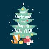 Tarjeta de Navidad con el zorro ilustración del vector