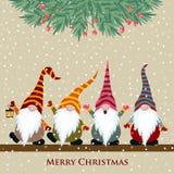 Tarjeta de Navidad con gnomos libre illustration