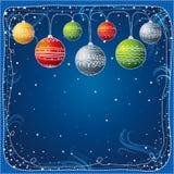 Tarjeta de Navidad con la bola, vec Imagenes de archivo