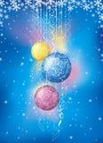 Tarjeta de Navidad con la bola, vec Foto de archivo