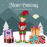 Tarjeta de Navidad con la caja del duende y de regalo libre illustration