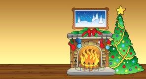 Tarjeta de Navidad con la chimenea 1 Fotografía de archivo