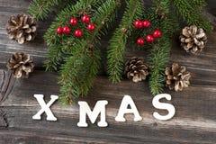 Tarjeta de Navidad con la composición del día de fiesta Fotografía de archivo libre de regalías