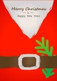 Tarjeta de Navidad con la correa de Papá Noel Imagen de archivo