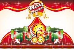 Tarjeta de Navidad con la cubierta delantera y retra Fotos de archivo libres de regalías