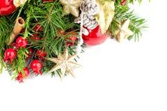 Tarjeta de Navidad con la decoración, árbol imperecedero de Navidad Fotos de archivo