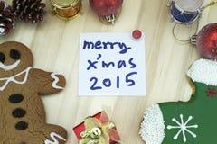 Tarjeta de Navidad con la decoración Fotos de archivo