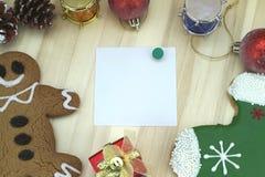 Tarjeta de Navidad con la decoración Imagenes de archivo