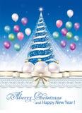 Tarjeta de Navidad con la decoración del árbol de navidad y de la Navidad libre illustration