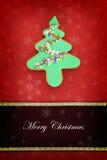 Tarjeta de Navidad con la galleta del árbol Foto de archivo libre de regalías