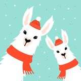 Tarjeta de Navidad con la llama libre illustration