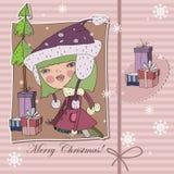 Tarjeta de Navidad con la muchacha y los regalos Fotografía de archivo libre de regalías
